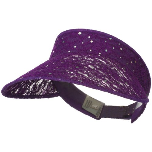 Lace Glitter Sun Visor - Purple - E4hats Hat Lace