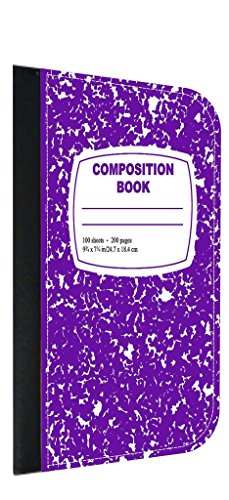 Purple Composition Book TM Leather and Suede PU Case Compati