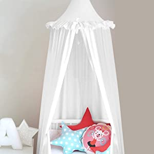 Mosquito Net Bed Canopy Play Tent Bedding for Kids Playing Reading with Children Round Lace Dome Netting Curtains Baby Boys and Girls Games House (White)