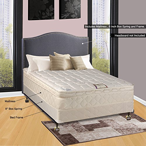 Continental Sleep 10' Pillowtop Fully Assembled Othopedic Full XL Mattress & Box Spring with Bed Frame,Deluxe Collection