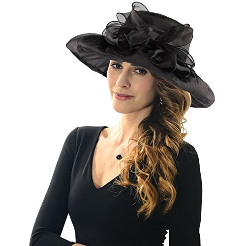 ICSTH Womens Organza Kentucky Derby Church Party Floral Wide Brim Summer Hat (One size, Black)