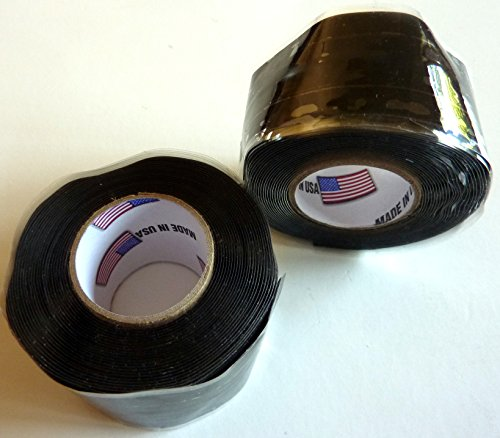 2X Philmore Self-Fusing Black Silicone Rubber Emergency Repair Tape Seals Insulates Waterproofs, 1' x 10ft