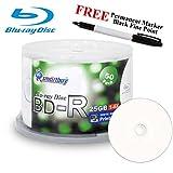 Smartbuy 50-disc 25GB 6x BD-R Blu-Ray White Inkjet Hub Printable Blank Media Disc + Black Permanent Marker
