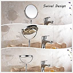 Cavoli Stand 8inch Makeup Mirror ,Tabletop Two-sided , 3X Magnification ,Chrome Finish(8 inch,3x)