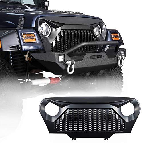 Hooke Road 1997-2006 Jeep TJ LJ Front Gladiator Grille Cover Vader Grill w/Mesh Inserts (Matte Black)
