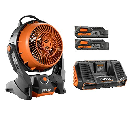 Ridgid 18 Volt gen5x Portable Hybrid Job site Fan R860720 + (2) R840086 Batteries & R840095 Charger ()
