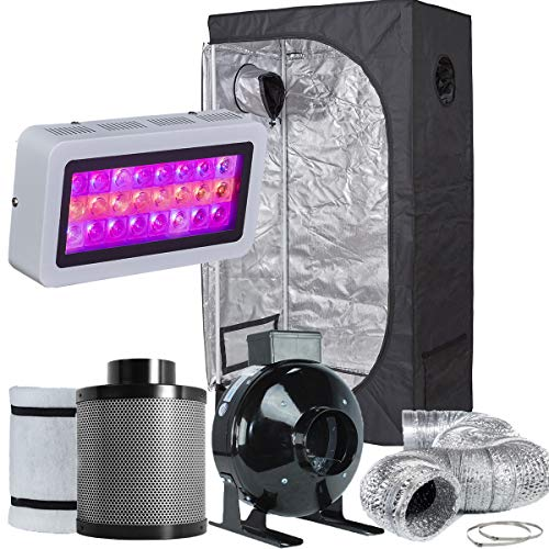 TopoLite Grow Tent Room Complete Kit Hydroponic Growing System LED 300W Grow Light + 4