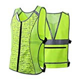 JKSafety Class 2 High Visibility Zipper Front Reflective Vest for Cycling, Jogging, Walking, Outdoor Sports - Adjustable, Yellow for Men and Women (Sport-M, Yellow)