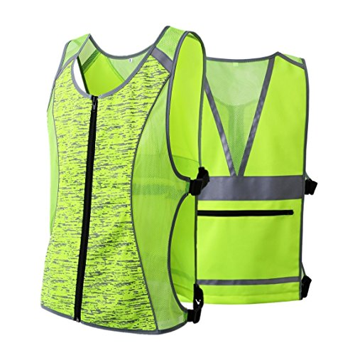 JKSafety Class 2 High Visibility Zipper Front Reflective Vest for Cycling, Jogging, Walking, Outdoor Sports - Adjustable, Yellow for Men and Women (Sport-M, Yellow) by JKSafety