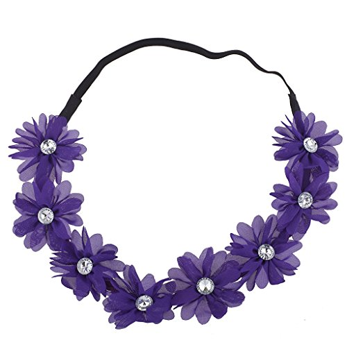 Lux Accessories Purple Chiffon Flower Floral Music Festival Headband Headwrap
