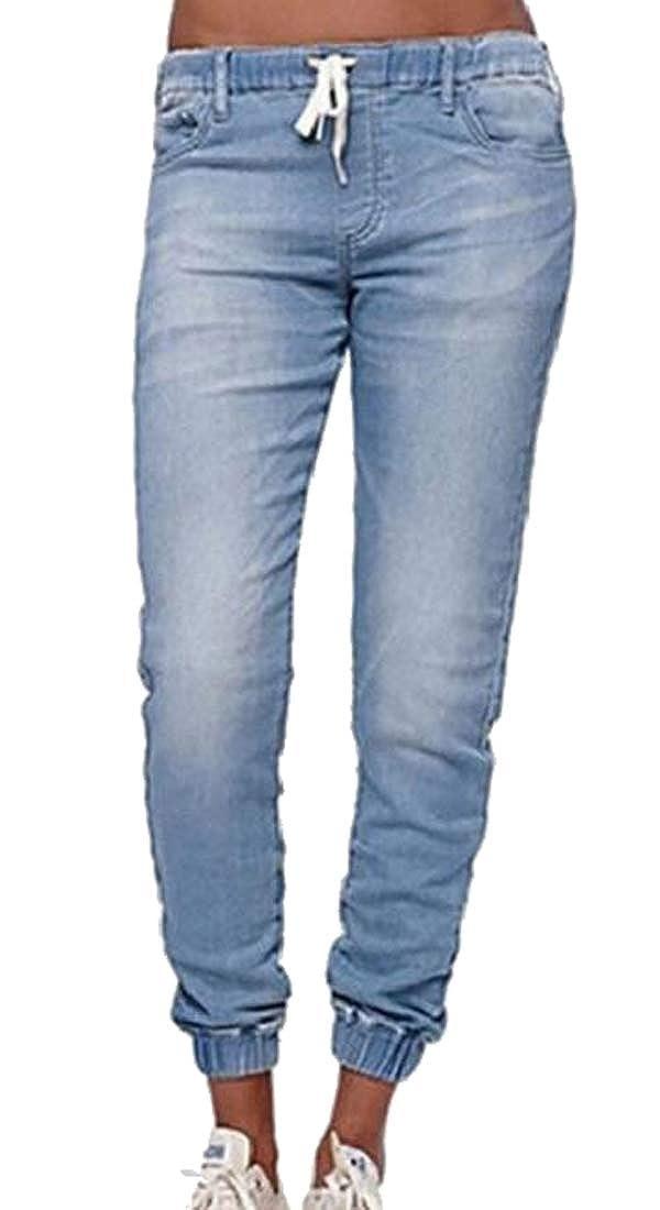 MOUTEN Womens Elastic Waist Casual Low Rise Slim Washed Denim Jogging Pants Trousers