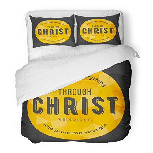 SanChic Duvet Cover Set Bible Quote for I Can Do Everything Through Christ Who Gives Me Strength From Philippians on Polygon Decorative Bedding Set with 2 Pillow Shams Full/Queen Size by SanChic