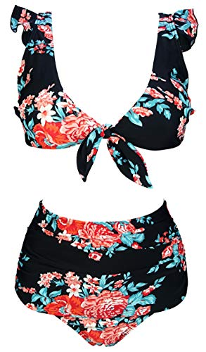 COCOSHIP Red Pink & Black Antigua Bloom Chic High Waisted Shirred Bikini Set Tie Front Closure Top Ruffle Straps Bathing Suit 6
