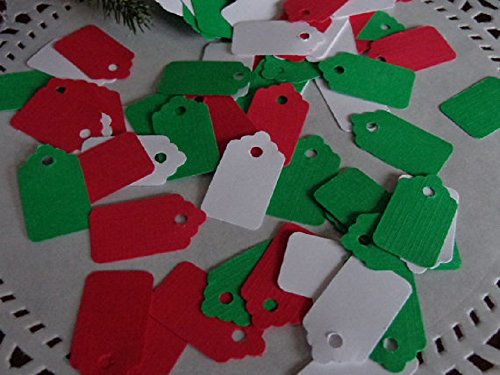 Mini Price Tags Die Cuts - Scrapbooking Embellishments - Red - White - Green - Paper Punches (Set of 200 pieces) from Honeybear Party Boutique