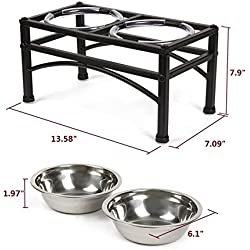 DAZONE Raised Dog Bowls Elevated Cat Feeder With Two Stainless Steel Bowls-Perfect for Water Food or Treats by ZHCH
