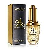 Face Gold Serum - 24K Gold Foil Essence Anti Aging & Wrinkle Moisturizing Firming Face Serum Treatment for Women Skin Care Hyaluronic Acid Liquid (30ml)