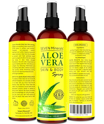 Aloe Vera SPRAY for Face, Skin & Hair - 99% ORGANIC, Made (Aloe Vera Face Mask)