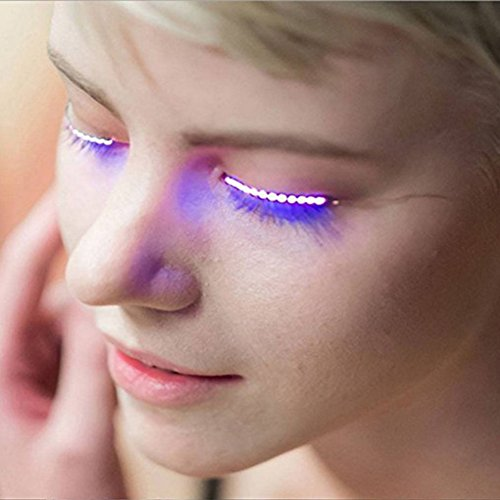 Sunsent LED Eyelashe LED Light Eyelash Shining Eyeliner Charming Unique Waterproof Eyelid Tape Nightclub DJ Deco (Purple)