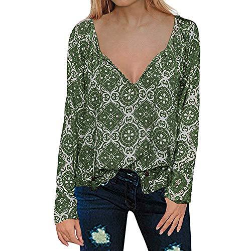 ✈Blackcat✈Women's Casual Tops Long Sleeve V Neck Printed Chiffon Blouse Loose Shirts Green Black Octane Leather Jackets