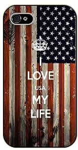 iPhone 5 / 5s I Love USA my life - black plastic case / Keep calm, United Sates flag