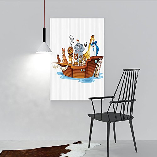 SCOCICI1588 Modern Landscape Artwork Stretched Illustration of Many Animals Sailing in the Boat Mythica Journey Faith Story Art Long Multi for Living Room Home Decorations(16''x24'') by SCOCICI1588