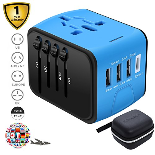 SZROBOY CSCD Travel Adapter,All-in-one International USB Travel Adapter with High Speed 3.0 Type C+3-port USB Worldwide AC Wall Outlet Plugs for For business travel of US, EU, UK, AU 200+ by SZROBOY