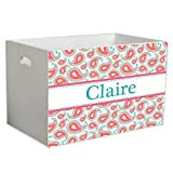 Personalized Paisley Aqua Coral Childrens Nursery White Open Toy Box