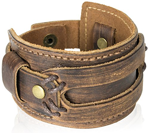 The Most Comfortable Genuine Leather Cuff Bracelet by Tundra Jewelry - - Carbon Hawkers Fiber