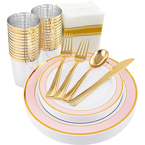 200pcs Gold Plastic Plates, Gold Plastic Silverware, Pink Plates with Gold Rim,Gold Cups and Napkins set: 25 Dinner Plates, 25 Dessert Plates, 25 Cups, 25 Knives, 50 Forks, 25 Spoons,25 - Rim Pink
