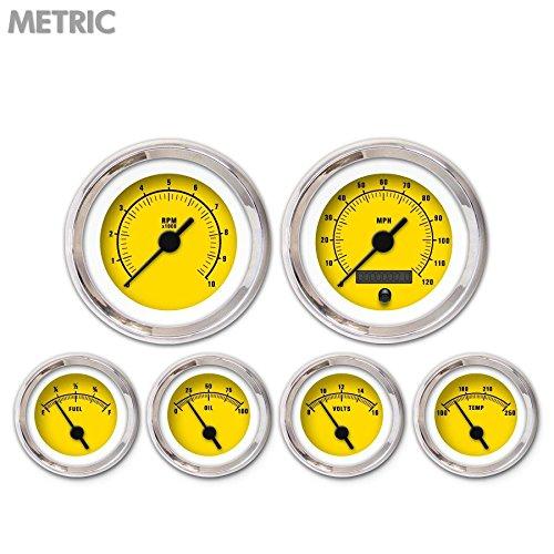 Aurora Instruments GAR262ZMXRABAC Rider Yellow 6-Piece Gauge Set