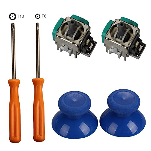 Timorn 2pcs Replacement Thumbsticks Joysticks Swap and 2pcs Wireless Controller Rocker with T8 T10 Torx Screwdriver Repair Kits Parts for Xbox One Controller (Ps3 Controller Repair)