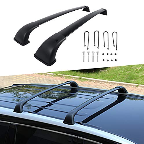 (Partol Roof Rack Cross Bars for Toyota Highlander XLE Limited 2014 2015 2016 2017 2018, Aluminum Roof Top Luggage Rail Cargo Carrier with Actual Side Rails for Canoe Kayak Bike - Pair, Black )