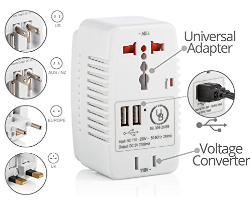 Yubi Power Voltage Converter 220V to 110V (600 Watts) + Universal Adapter for AU, UK, US & EU + 2 USB Ports (2A) for Worldwide Electronic Charging. Durable, Compact & Versatile. (Convertidor De Smart Tv)