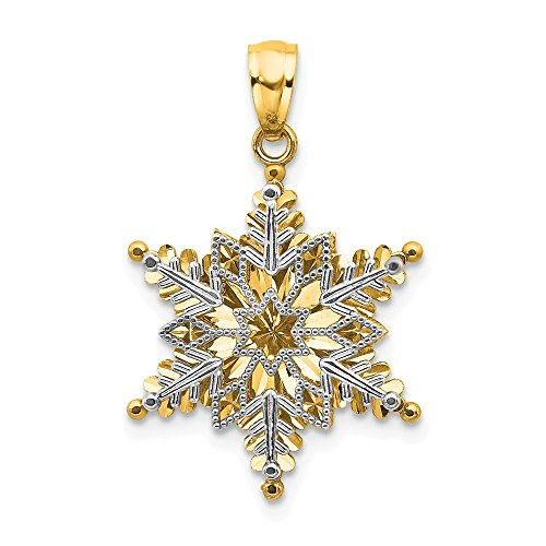 (14k Two Tone Yellow Gold Textured 2 Level Snowflake Pendant Charm Necklace Holiday Fine Jewelry Gifts For Women For Her)