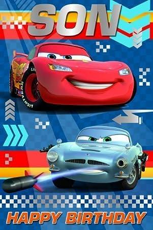 Amazon.com: Disney Cars Tarjeta de cumpleaños para hijo ...