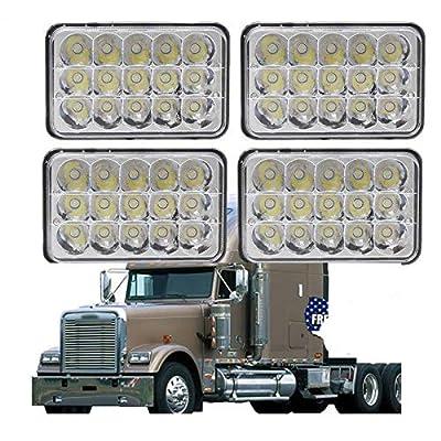 4PCS 4X6 LED Headlights for Freightliner FLD120/FLD112/Condor Kenworth W900/T2000/T800/T600A/C500 Peterbilt 265/362/320, Sealed Beam High Low H4651 H4642 H4652 H4656 H4666 H4668 H6545 Conversion Kit: Automotive