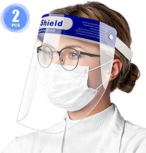 Exceart 2 PCS Pantalla de protecci/ón Facial Transparente Visera protecci/ón m/áscara Facial Protecci/ón antisalpicaduras para Evitar la Gotas Polen y Polvo
