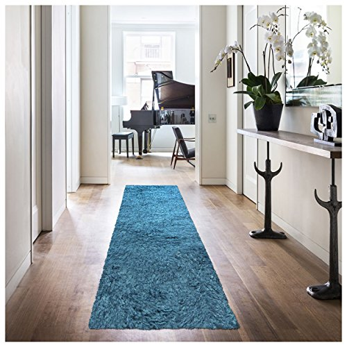 "Superior Elegant Shag Rug, Plush and Cozy Hand Tufted Area Rugs, Chic and Contemporary Eyelash Shag Rug with Cotton Backing - 2'6"" x 8' Runner, Marina"