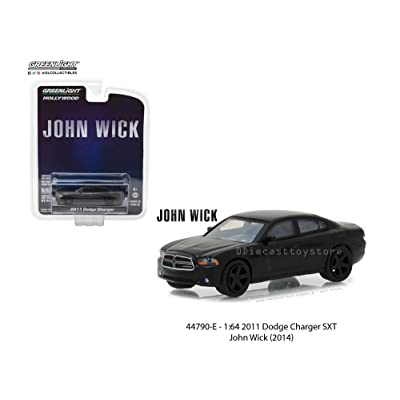 New 1:64 Greenlight Hollywood Series 19 Collection - John Wick (2014) - 2011 Dodge Charger SXT - Black Diecast Model Car By Greenlight: Toys & Games