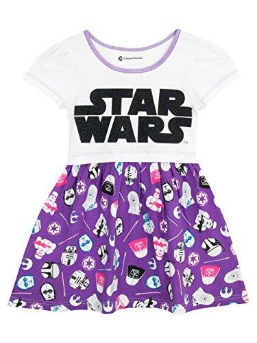 Star Wars Girls' Logo Dress Size 4 White -