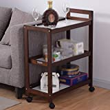 YUEQISONG Storage Rack Solid Wood it Can Move Brown Wood Color Multifunction Kitchen, c
