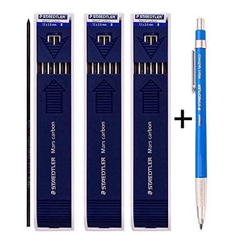 Staedtler Mars Technico 780C Mechanical Lead holder,clutch Pencil Mars Carbon 2mm Drafting Pencil (Lead Holder 1 Pencil +Carbon Leads