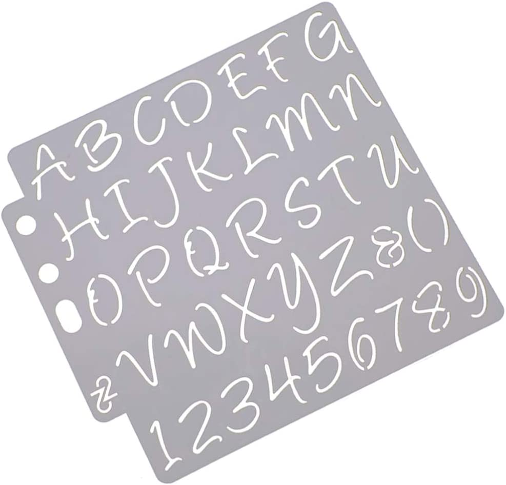 Healifty Letter and Number Stencils Alphabet Stencil Cake Decorating Stencils for DIY Scrapbooking Painting Drawing Craft