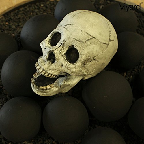 Myard DELUXE Logs - Imitated Human Skull Fire Gas Log for Natural Gas / Liquid Propane Fireplace Fire-Pit (White)