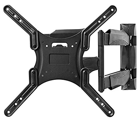 Full Motion TV Wall Mount Monitor Bracket for 22-52 Inch LED, LCD and Plasma Flat Screen Displays up to VESA 400x400. Universal Fit, Swivel, Tilt, Articulating with 10' HDMI (Monitor Wall Mount Flush)