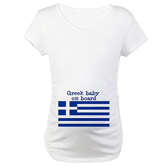 cafc9088 CafePress Greek Cotton Maternity T-Shirt, Cute & Funny Pregnancy Tee White