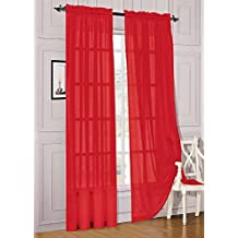 """Elegant Comfort 2-Piece Sheer Panel with 2"""" Rod Pocket, Window Curtains 60"""" Width X 84"""" Length, Red"""