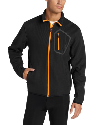 Spyder Men's Paramount Soft Shell Jacket, Black/Neon Orange,