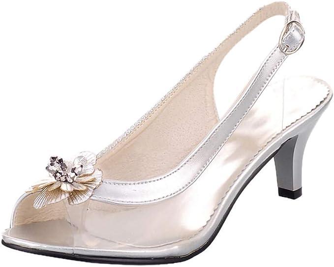 Moonker Women Shoes,Womens Fashion Stilettos Open Toe Pump Heel Sandals Belt Buckle Dress Sandals