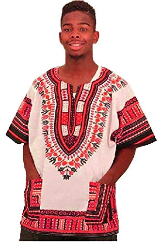: Traditional Thailand Style Dashiki - Available in Several Color Combinations (White with Red),XL